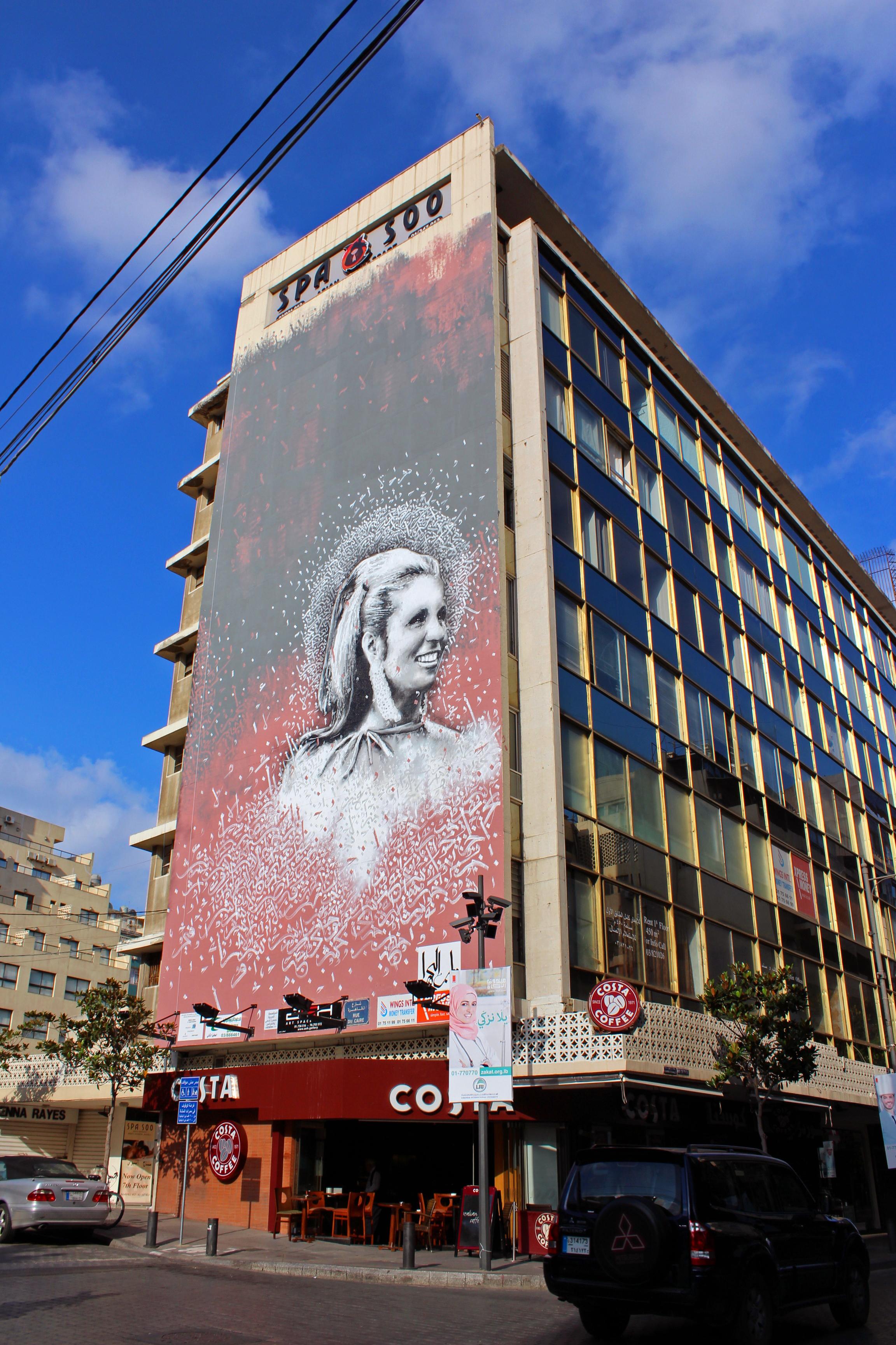 File eternal sabah mural on assaf building in hamra beirut for Mural on building