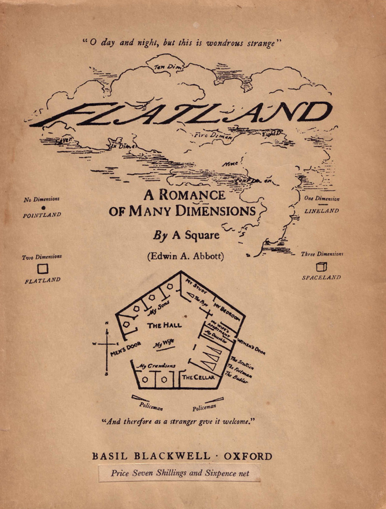 Flatland par Edwin A. Abbott. Crédit : https://upload.wikimedia.org/wikipedia/commons/5/51/Flatland_cover.jpg