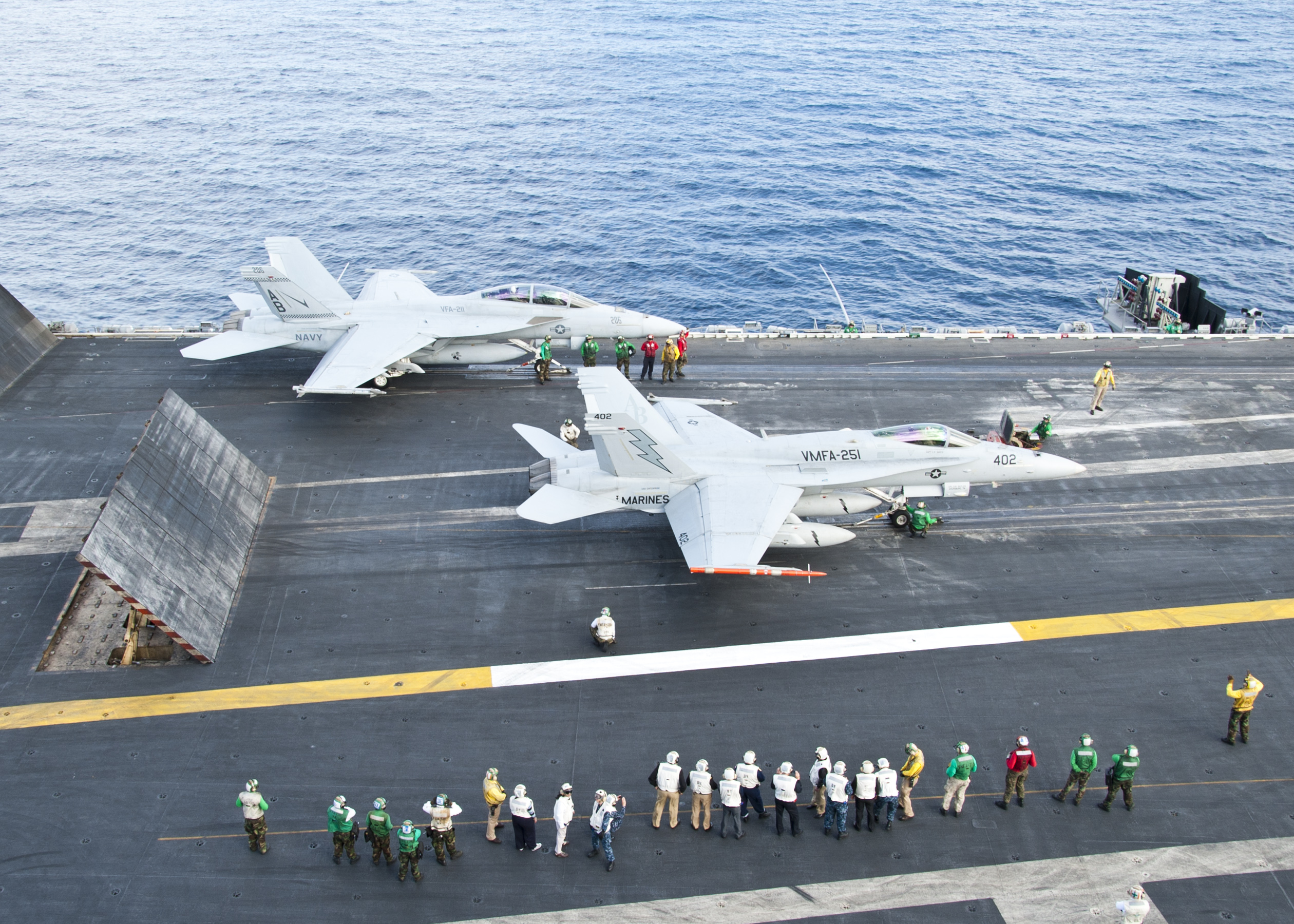 File:Flickr - Official U.S. Navy Imagery - Aircraft prepare to take off during flight