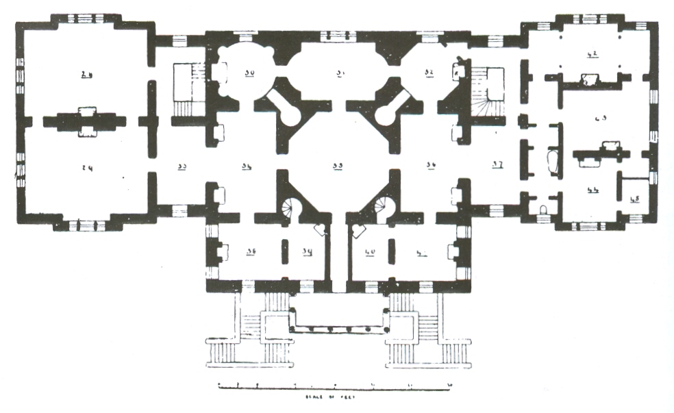 File:Floor paln of Chiswick House with additional wings ...