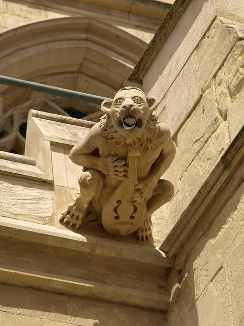 Gargoyle is on the Cathedral Church of St Peter and the Holy and Indivisible Trinity, in Gloucester, England.