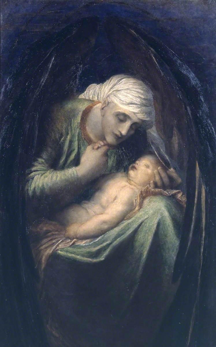 Джордж Фредерик Уоттс (1817-1904) - Смерть, венчающая невинность - N01635 - National Gallery.jpg