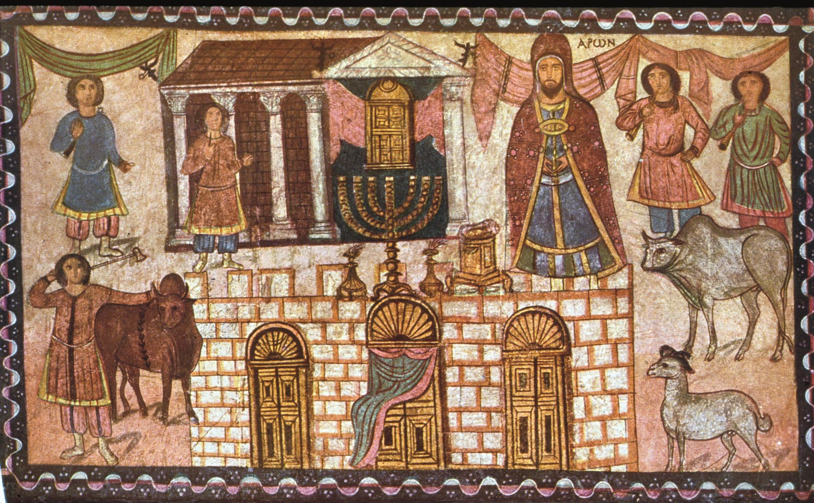 Painting of Herod's temple in the Dura-Europos synagogue