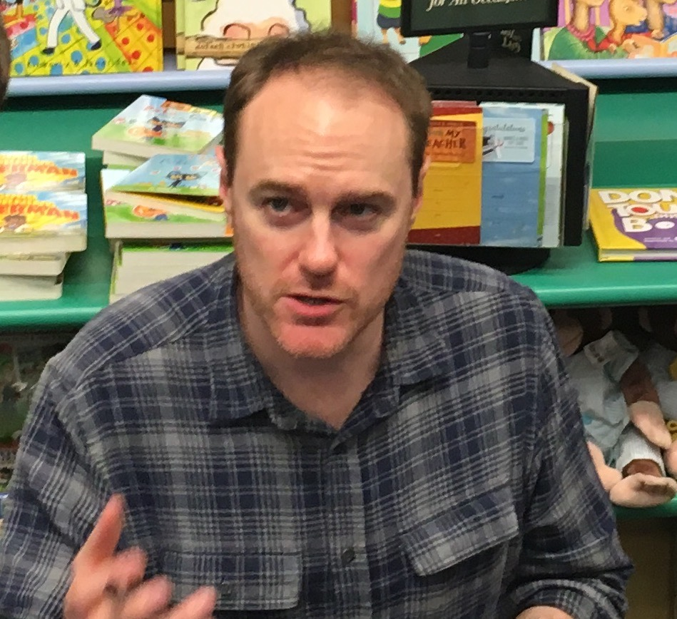 James Riley at a book signing event in 2018