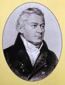 black and white reproduction of a painted, bust-length portrait of a white male