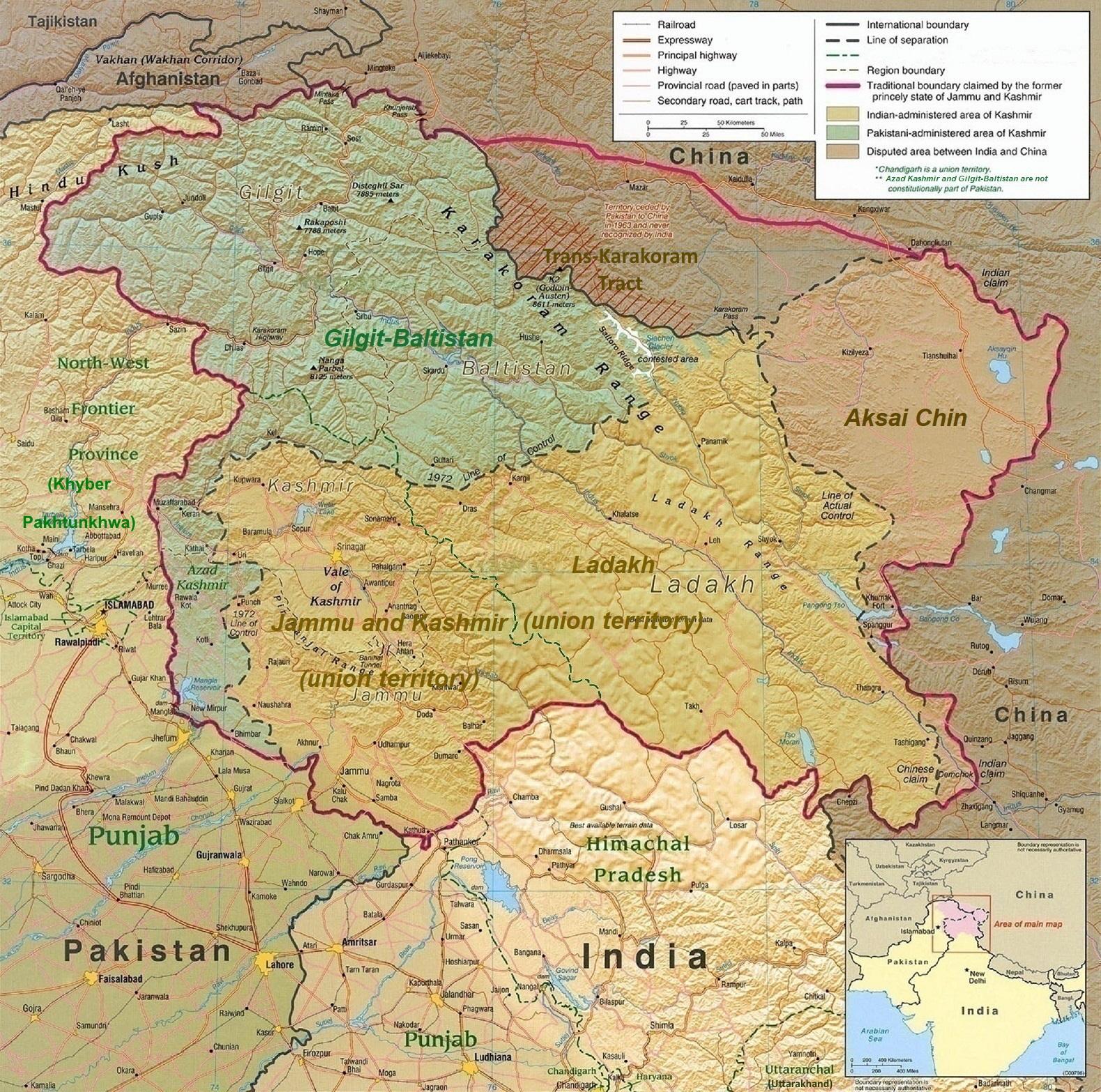 map of kashmir valley Kashmir Wikipedia map of kashmir valley