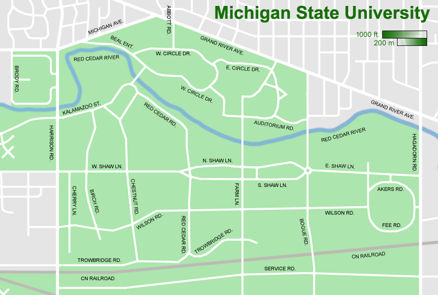 Michigan State University Map Michigan State University