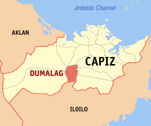 Map of Capiz showing the location of Dumalag