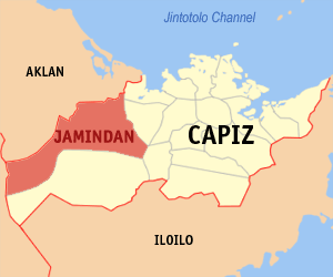 Map of Capiz showing the location of Jamindan