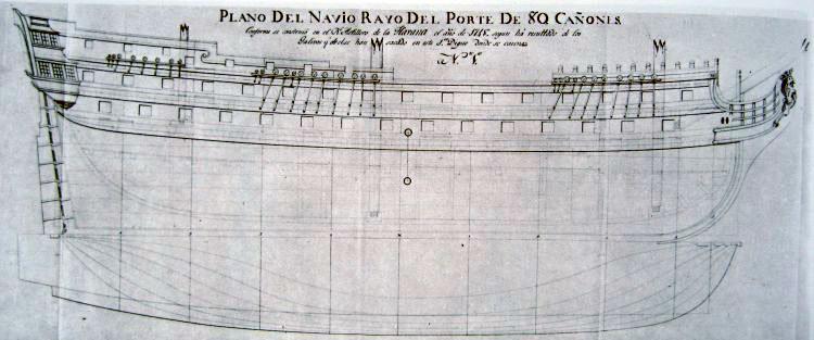 Plano origial del navío antes de aumentarle el número de cañones