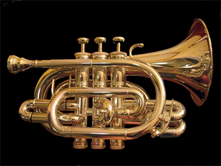 Pocket trumpet compact size b-flat trumpet, with the same playing range as the regular trumpet