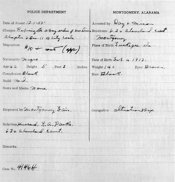 Police report on Parks, December 1, 1955, page 2