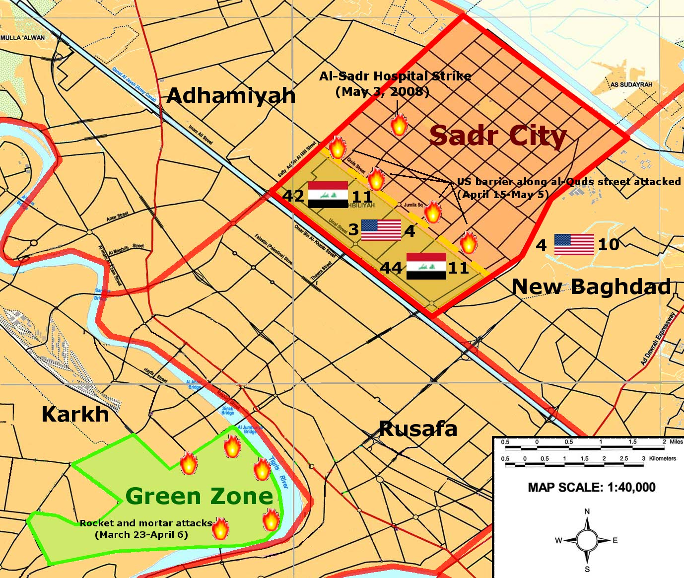 Siege of Sadr City Map (courtesy: Wikipedia) - This shows how close Sadr City and the Green Zone were located to each other.