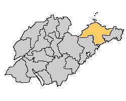 Yantai, en beige sur une carte du shandong