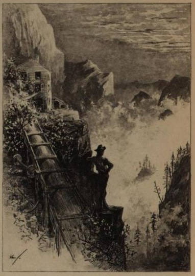 A fanciful illustration of the old miners bunkhouse on the narrow ledge of Silverado, a ruined ore chute to the left, and our hero admiring a seafog rolling in over the Napa Valley