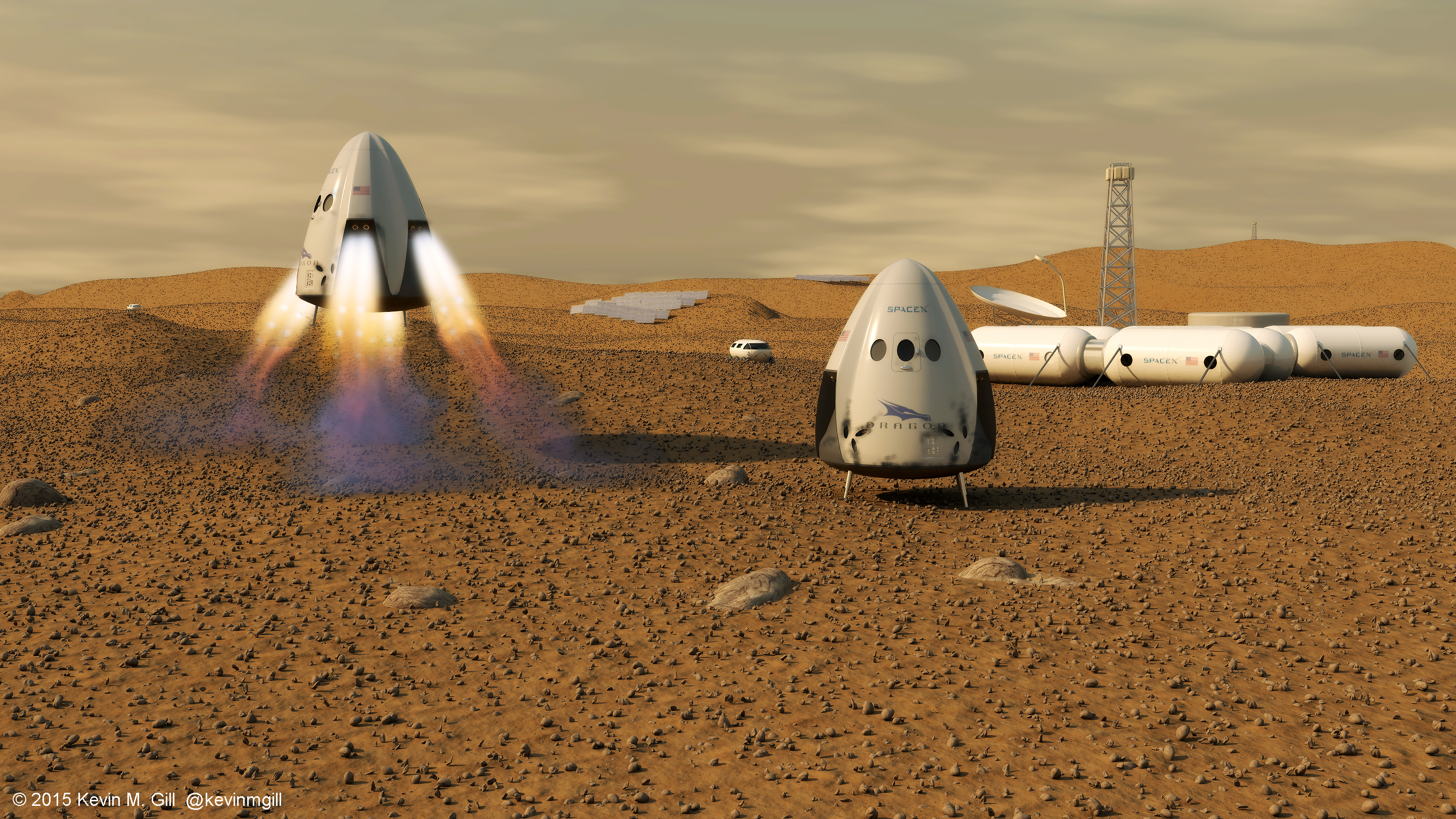 SpaceX Dragon Capsule on Mars depiction