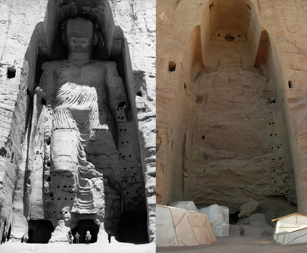 """Intelligent design"" -- same thing as ""creationism"" ... Taller_Buddha_of_Bamiyan_before_and_after_destruction"