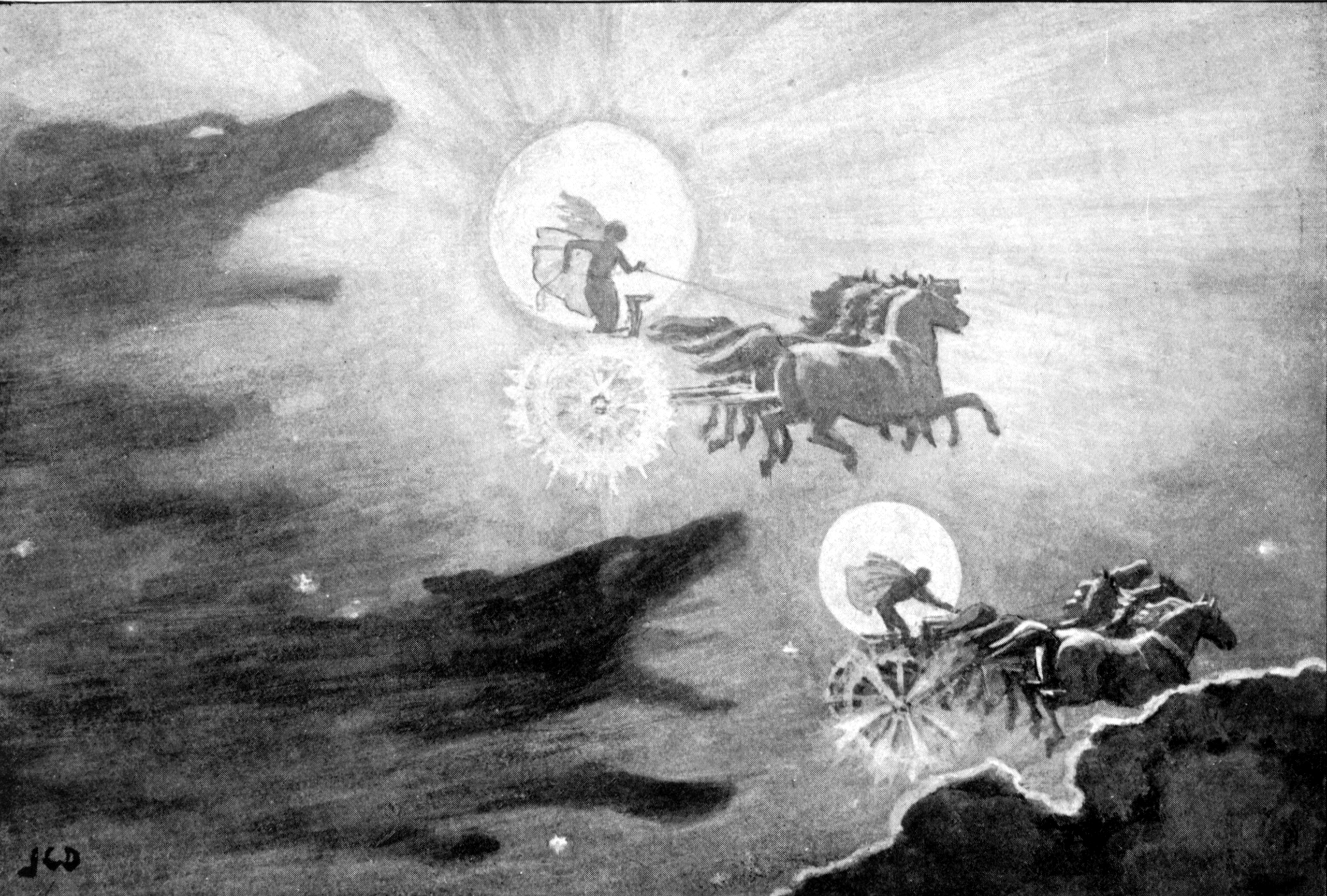 """The Wolves Pursuing Sol and Mani"" (1909) by J. C. Dollman."