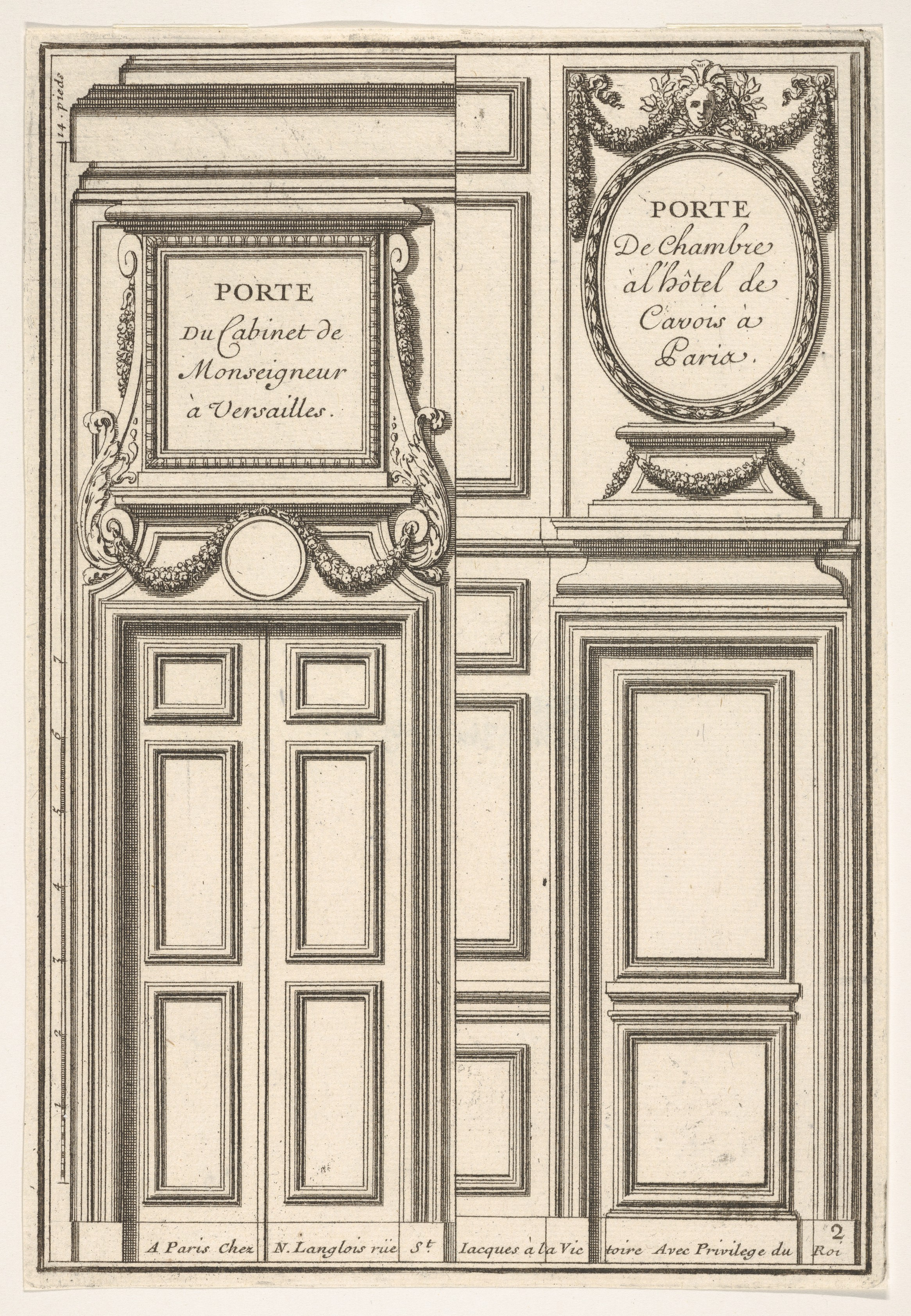 File Two Designs for Doors one at Versailles and one at the Hotel