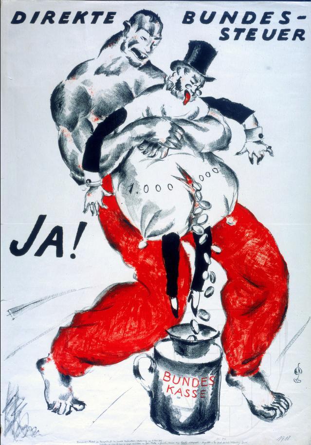 Direkte Bundessteuern Karikatur 1918 - Quelle; WikiCommons, siehe Ende des Beitrags