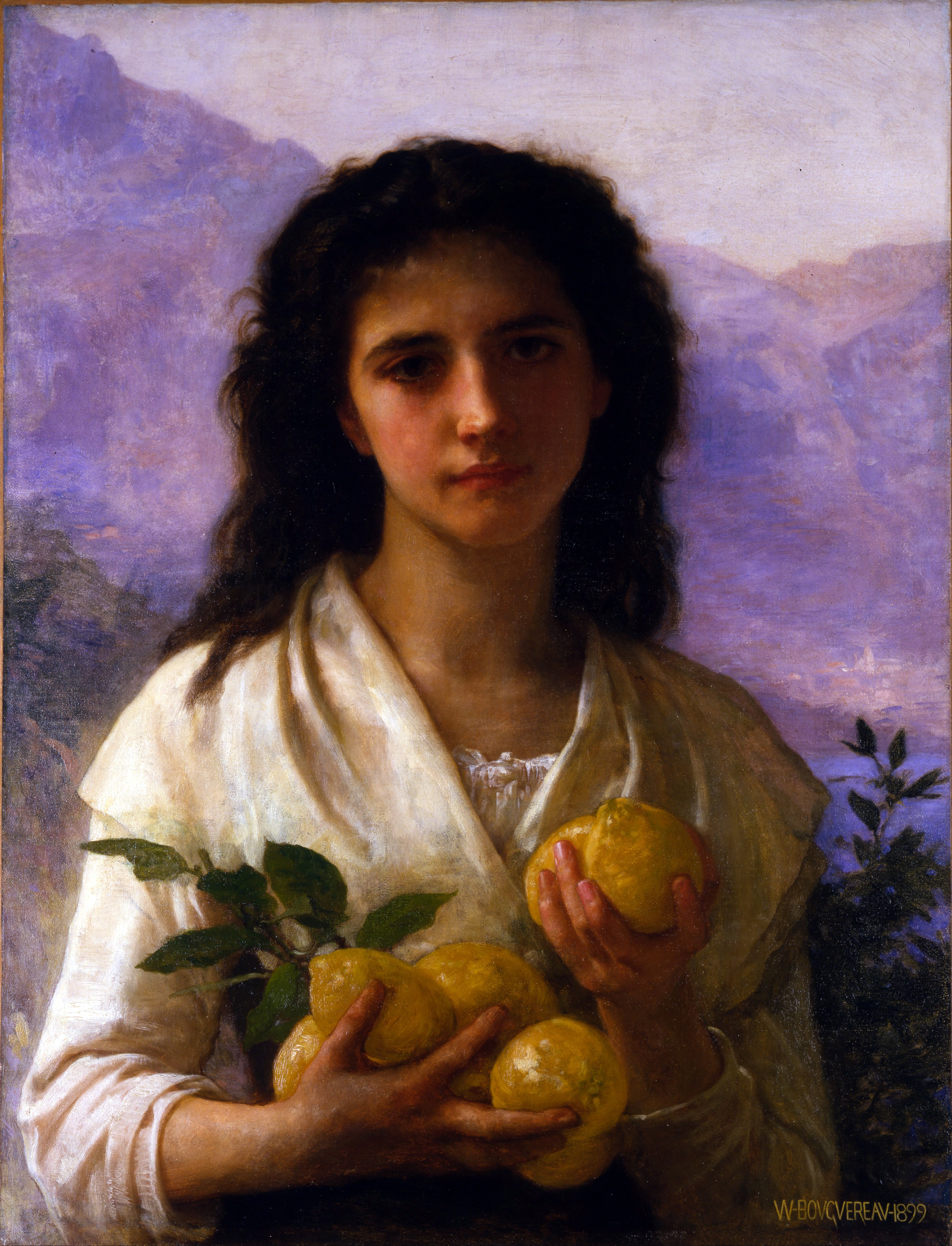 William-Adolphe Bouguereau (1825-1905) - Girl Holding Lemons (1899).