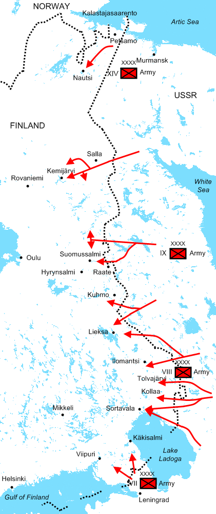 Offensives of the four Soviet armies from 30 November to 22 December 1939 displayed in red Winterwar-december1939-soviet-attacks.png