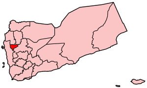 Map o Yemen showin Al Mahwit govrenorate.