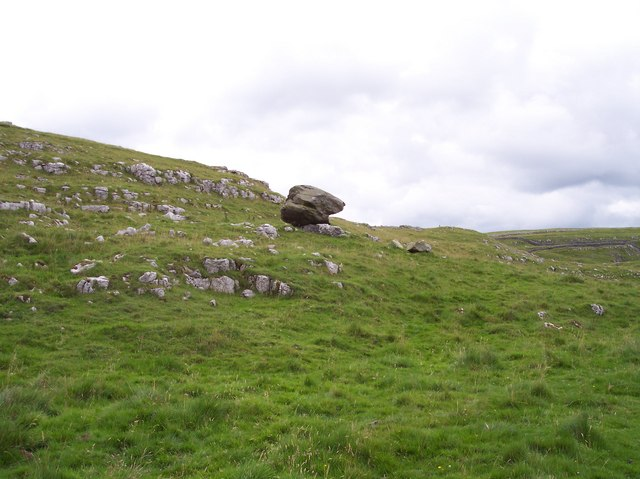 """Erratic"" boulder next to farmtrack at Winskill Stones - geograph.org.uk - 914832"