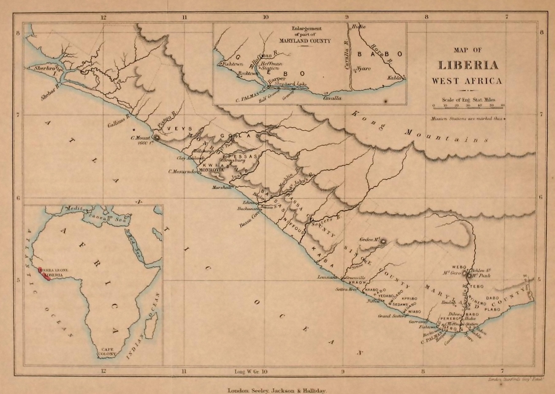 Image of: File 1868 Map Of Liberia West Africa Jpg Wikimedia Commons