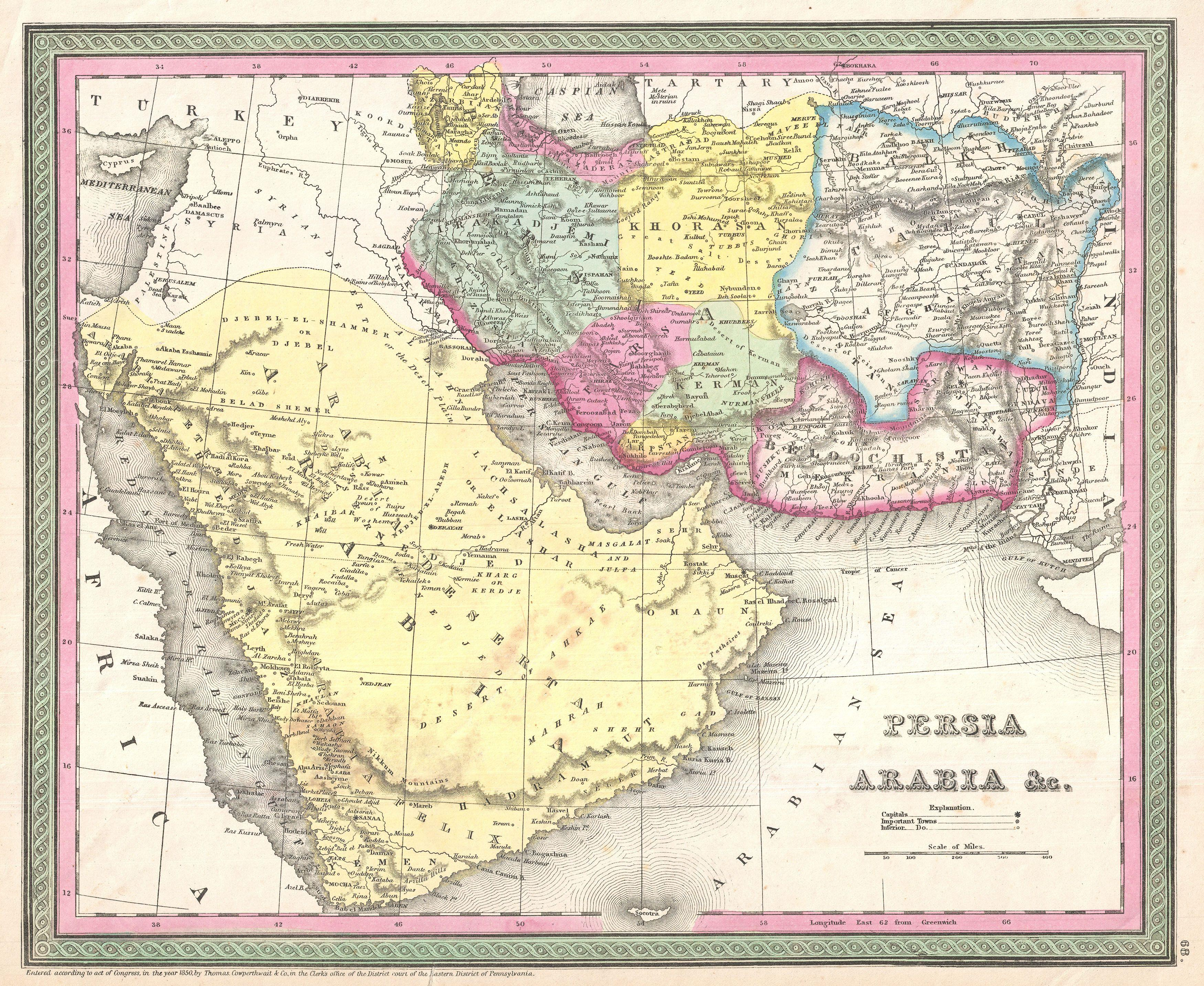 Middle East Map Arabian Peninsula.File 1850 Mitchell Map Of Arabia Persia Afghanistan Geographicus