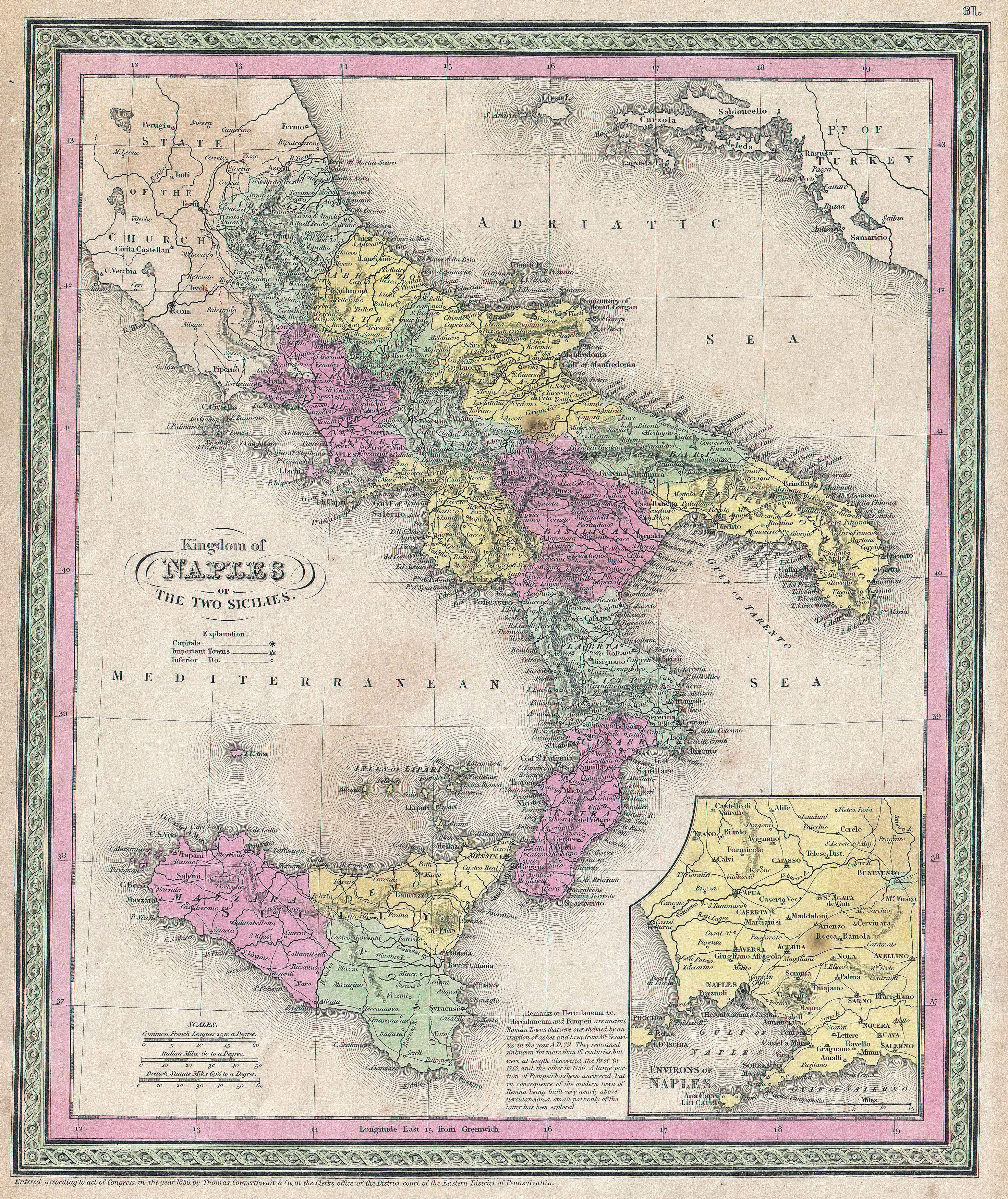Map Of South Italy.File 1853 Mitchell Map Of Southern Italy Naples Sicily