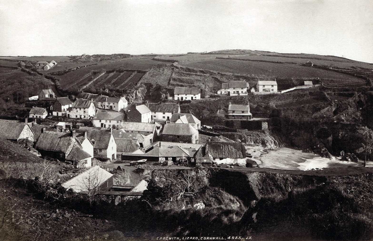 File19th Century View Of Cadgwith Cornwall England