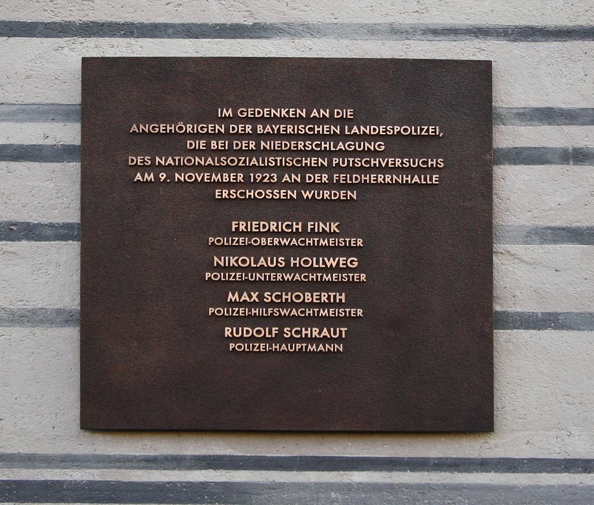 Gedenktafel für vier tote Polizisten des 9. November 1923