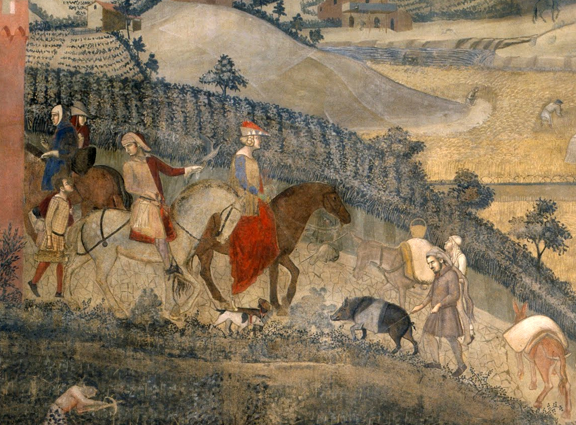 Allegoria degli Effetti del Buon Governo in Campagna (dettaglio) (1338-1339), Parete di sinistra della Sala dei Nove, Palazzo Pubblico, Siena