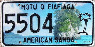 The current territorial license plate design, introduced in 2011 American Samoa license plate 2011 5504.png