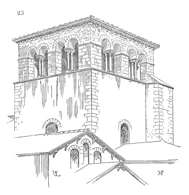Clocher d'Ainay à Lyon : Sa base est construite en moellons, avec angles en pierre, elle porte sur quatre arcs-doubleaux et contient une coupole...
