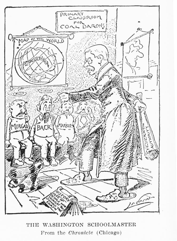 Political cartoon illustrating Roosevelt's regulation of monopolists