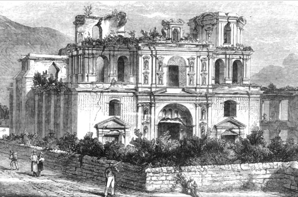 Ruinas de la Compañía de Jesús, tal y como quedaron tras los terermotos de 1773.