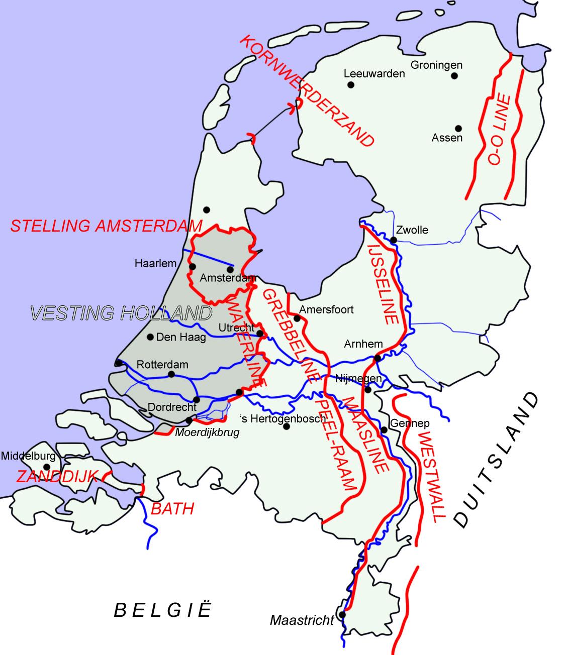 Διαδοχικές γραμμές άμυνας στην Ολλανδία