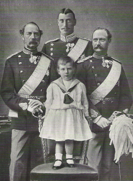 Four generations of Danish kings in 1903: King Christian IX (left), Christian (X) (back), Frederick (VIII) (right), and Frederick (IX) (front)