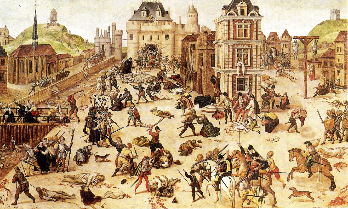 Saint Bartholomew's Day massacre, Painting by François Dubois. Public domain image courtesy of Wikimedia Commons