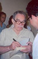 edited image of Gabriel Garcia Marquez, signin...