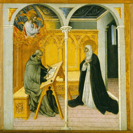 Bestand:Giovanni di Paolo Saint Catherine of Siena Dictating Her Dialogues.jpg