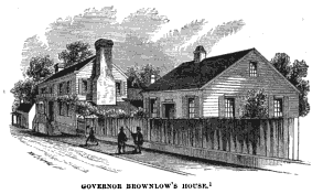 Brownlow's house and library at 211 Cumberland Avenue in Knoxville (no longer extant), as drawn by Benson John Lossing