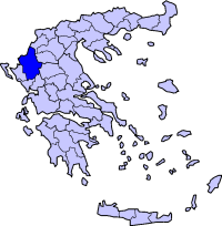 Location of Ioannina Prefecture in Greece
