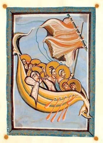 Jesus und seine Jünger in einem Drachenboot