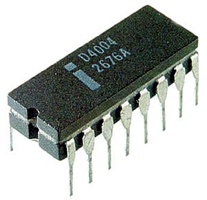 First microprocessor by Intel, the 4004. Intel 4004.jpg