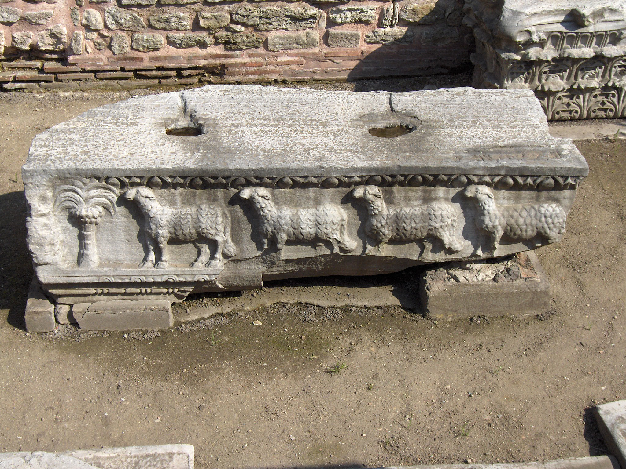 Stone remains of the basilica ordered by Theodosius II, showing the Lamb of God