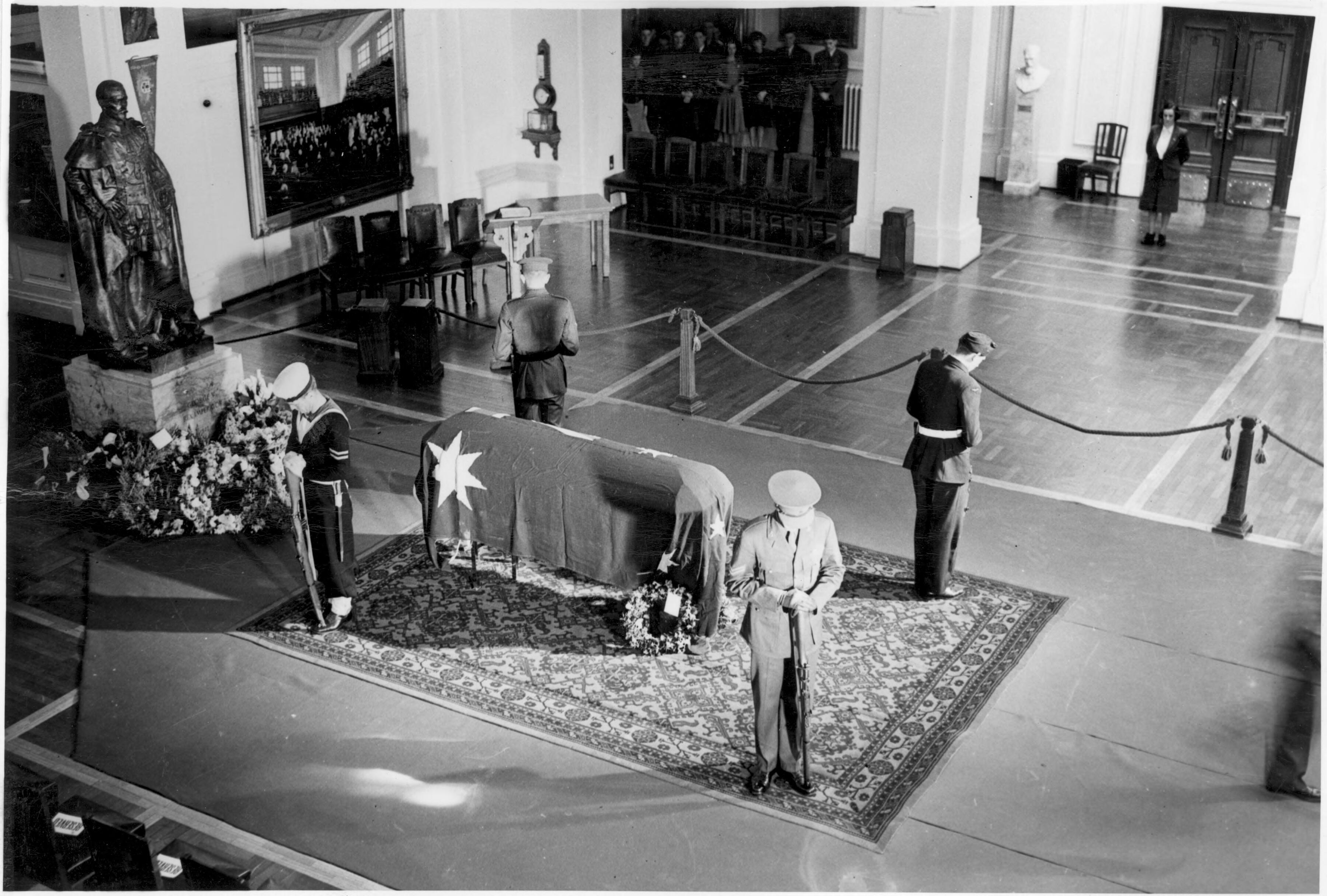 The coffin of John Curtin, the 14th Prime Minister of Australia, lying in state inside King's Hall, Old Parliament House, Canberra on July 6, 1945 - State funeral