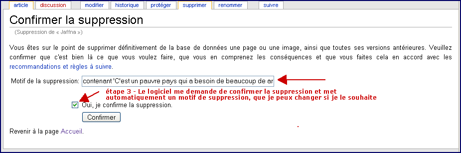 Suppression d'article sans historique